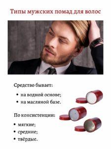 типы мужских помад для волос