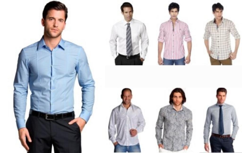 Разнообразие фасонов мужских рубашек.