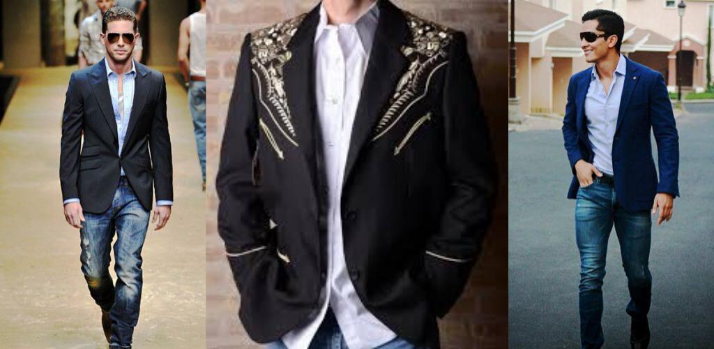 Мужчины в клубных пиджаках и джинсах