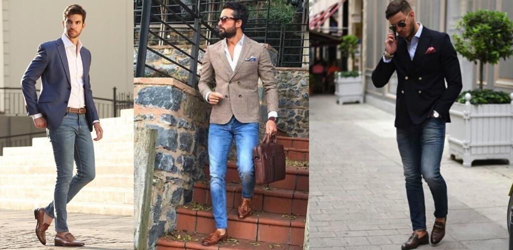 Мужчины в зауженных джинсах и приталенных пиджаках