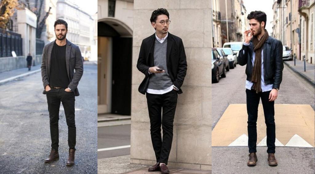 Мужские образы с черными джинсами