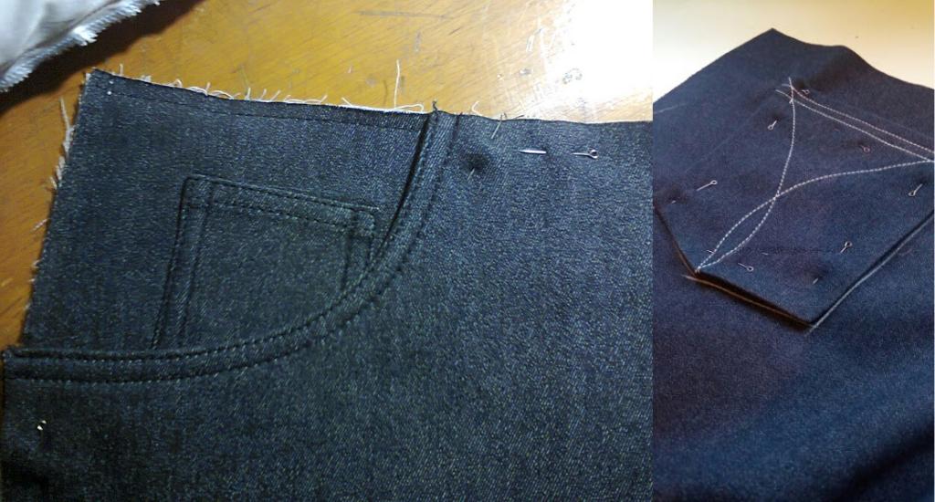Передние и задние карманы джинс