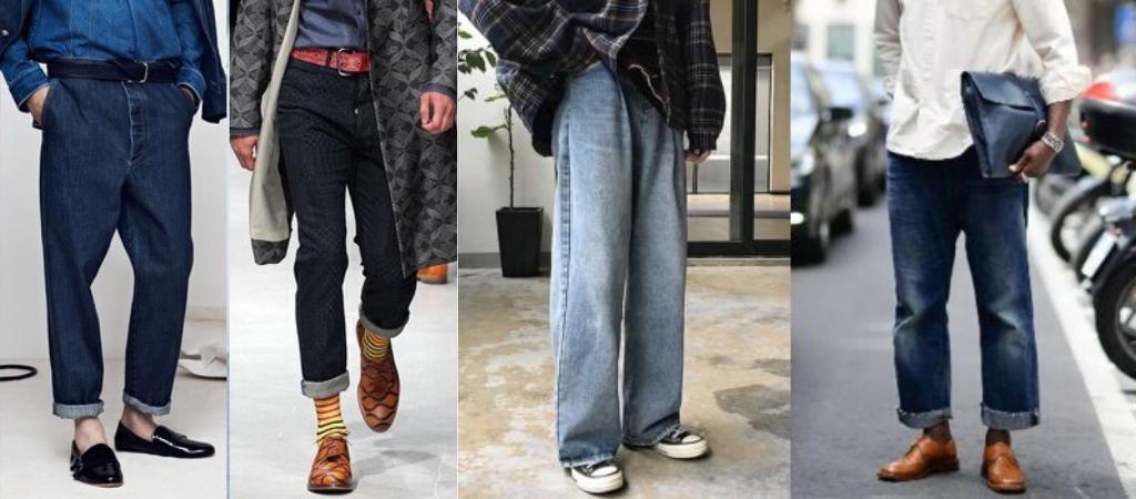 Мужчины в джинсах луз фит