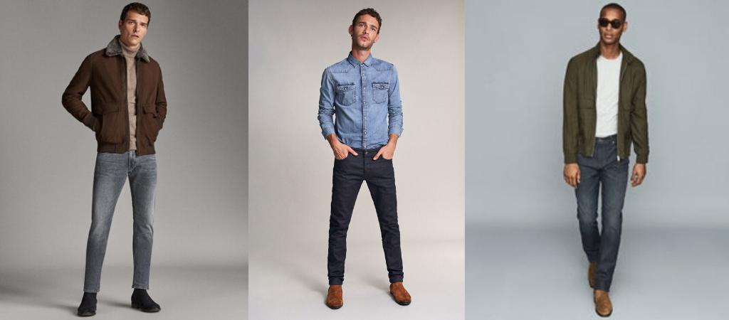 Мужчины в джинсах слим