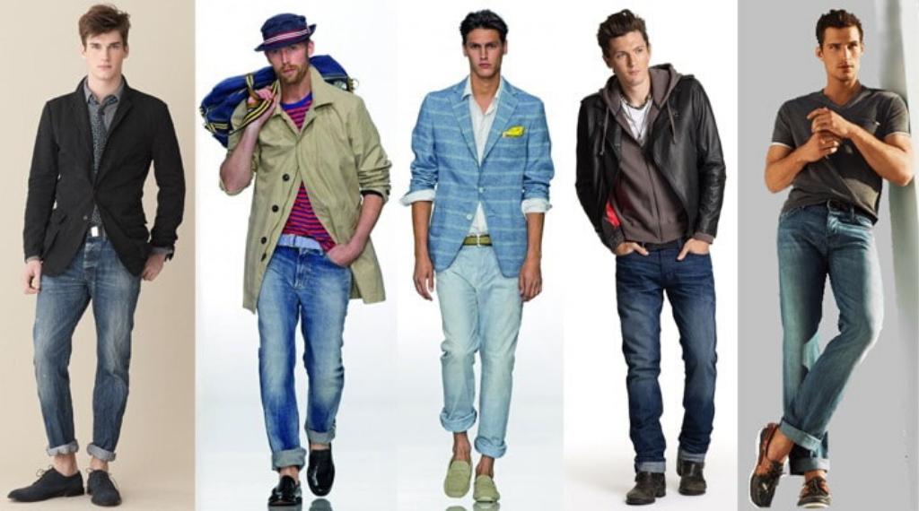 Стильные образы мужчин в джинсах с подворотами