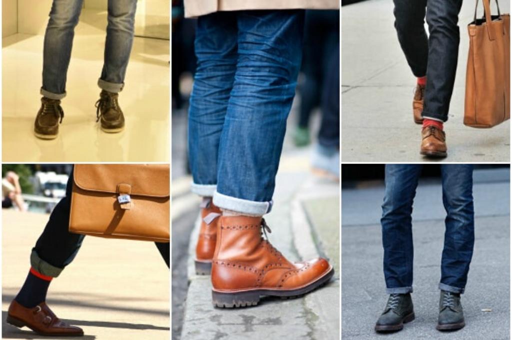 Сочетание подворотов на джинсах с обувью