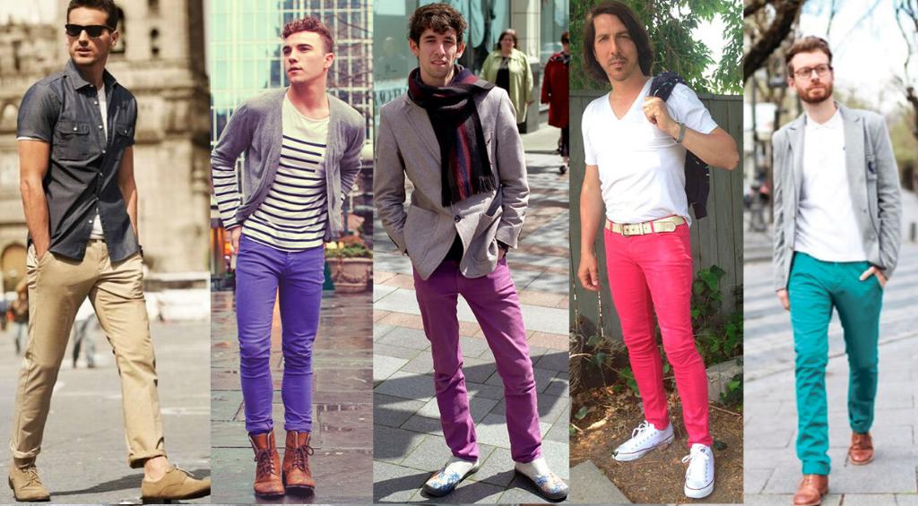 Мужчины в ярких цветных джинсах