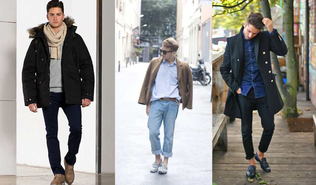 Джинсы с пиджаком, пальто, пуховиком