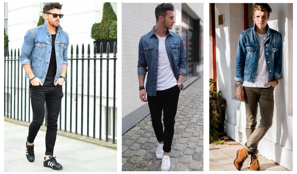 Мужские скинни джинсовая рубашка