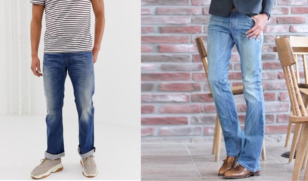 Мужчины в джинсах клеш