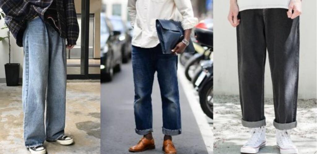 Мужчины в джинсах-трубах