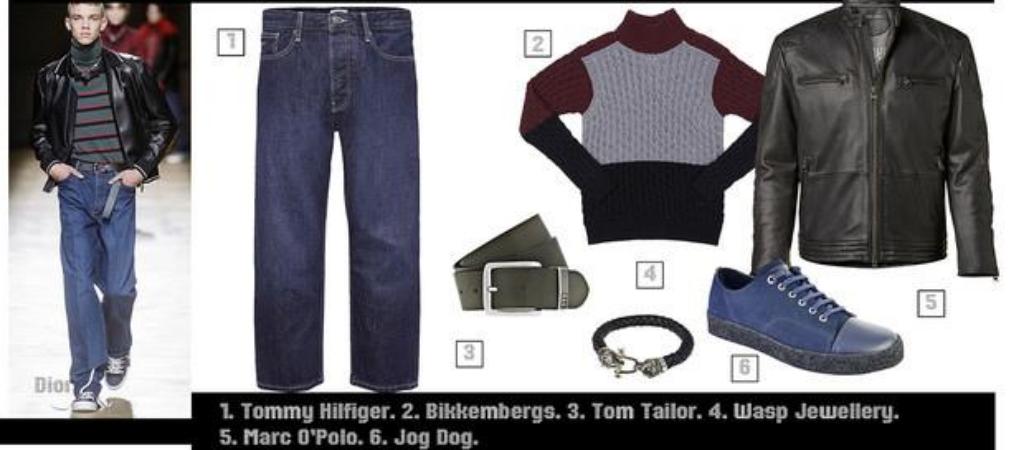 Мужской лук с широкими джинсами