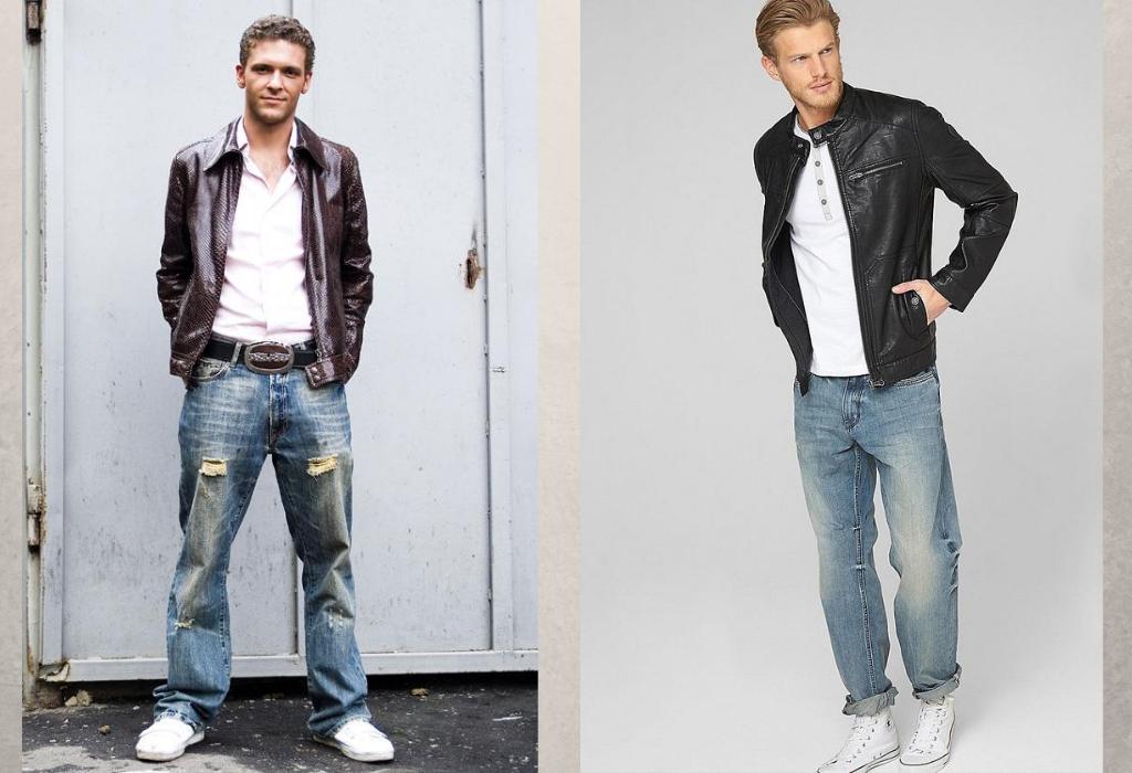 Мужчины в широких джинсах