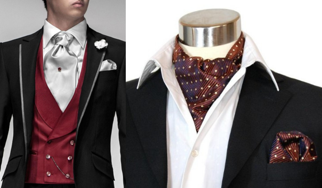 Варианты ношения галстука аскот