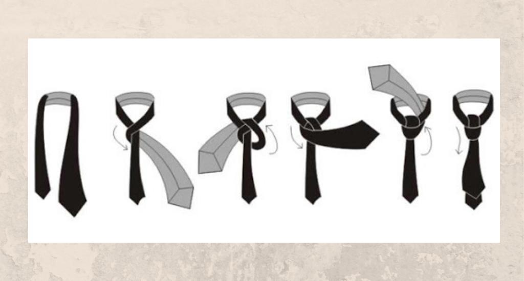 Схеме узла для галстука полувиндзор