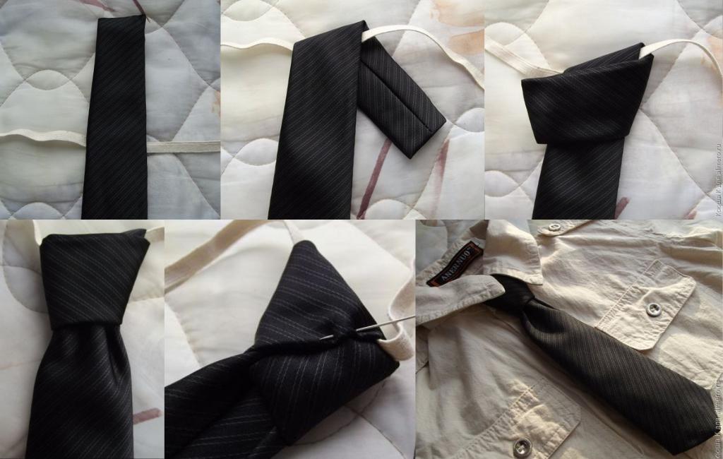 Последовательность формирования узла и пришивание резинки к галстуку