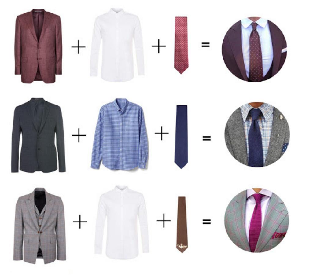 Сочетание костюма, рубашки и галстука