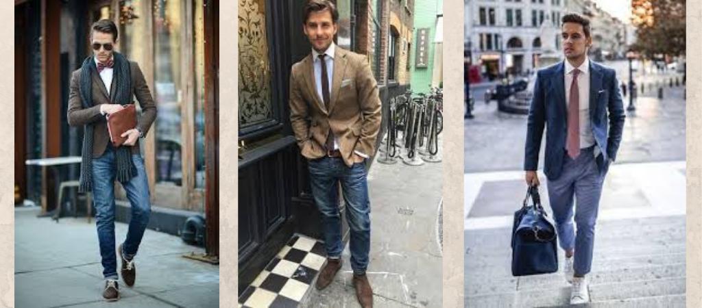Мужчины в джинсах и галстуке