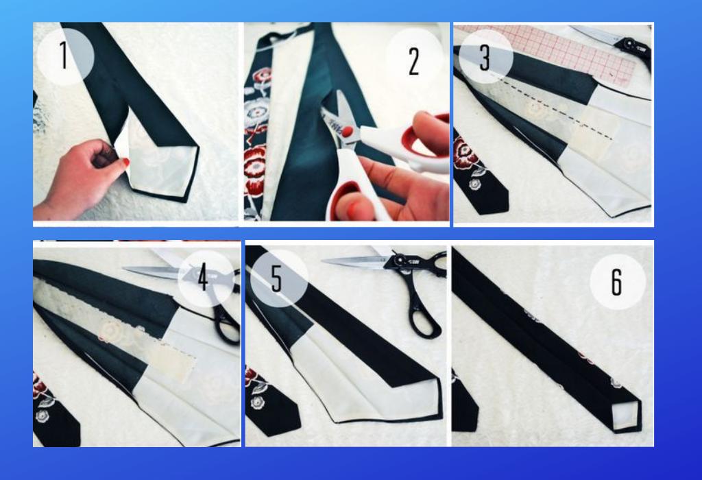 Последовательность пошива галстука
