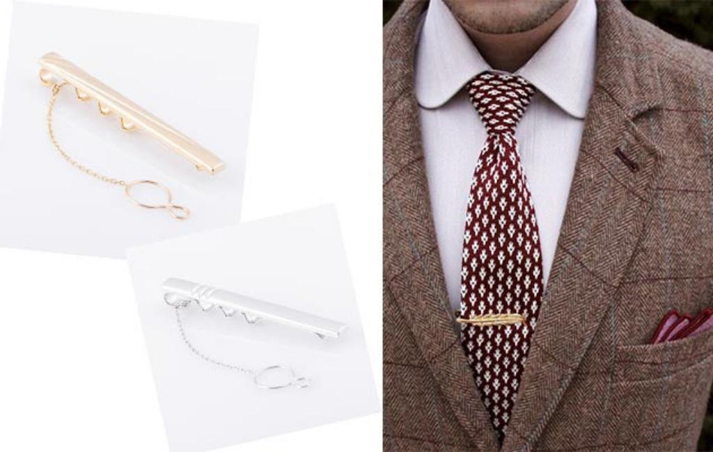 Зажим для галстука с цепочкой