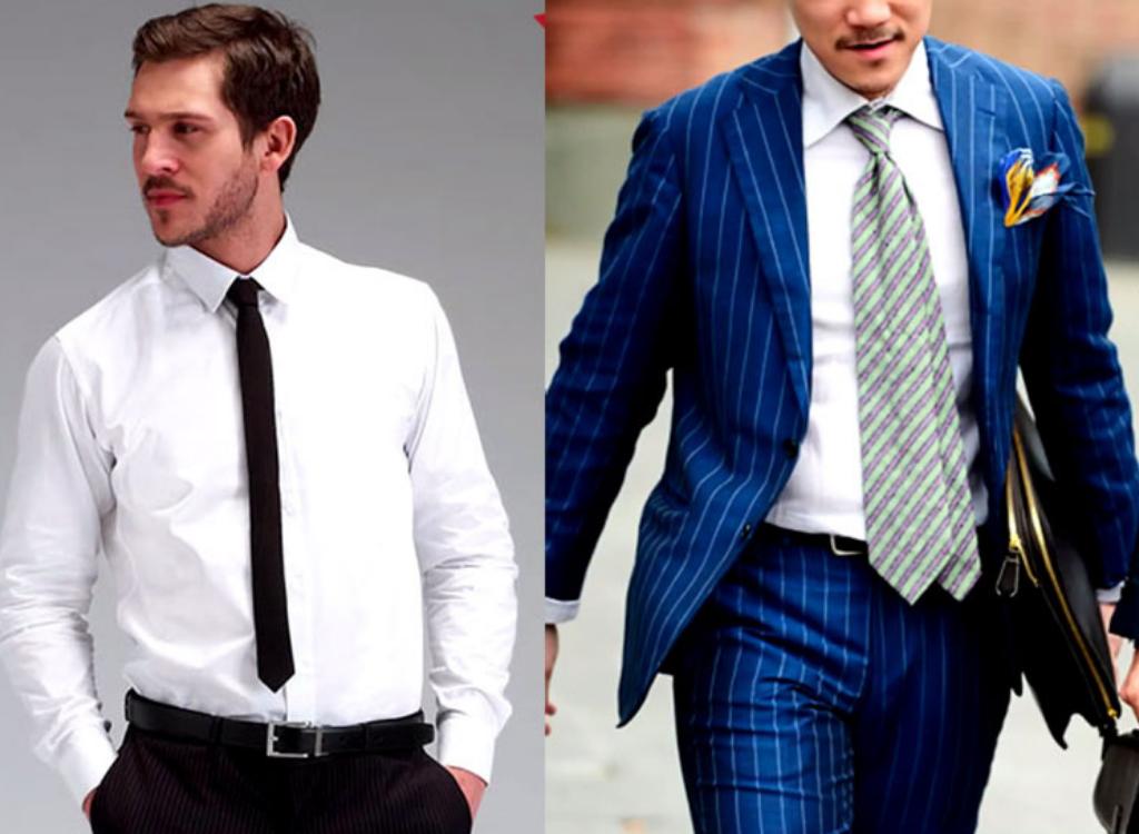 Мужчины с узким и широким галстуком